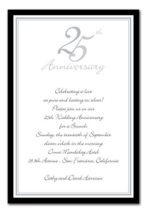 25th wedding anniversary invitation sles 25th anniversary invitations search 25th