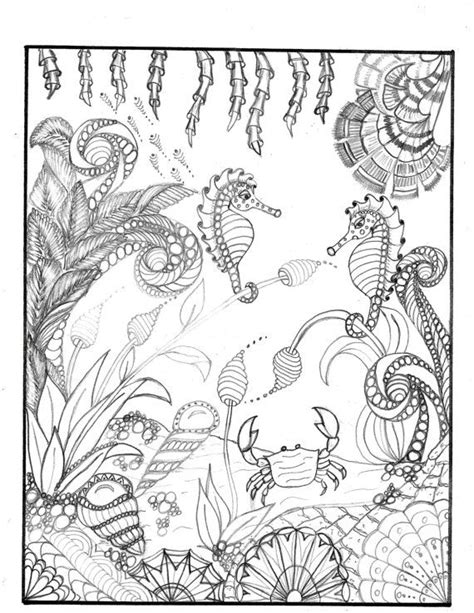 coloring pages for adults underwater coloring page for grownups underwater seascape zentangle