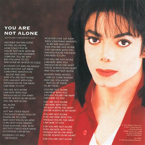 libro you are not alone car 225 tula interior frontal de michael jackson you are not alone cd single portada