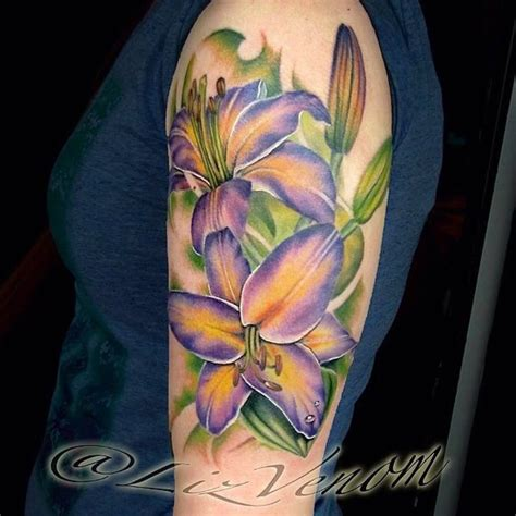 quarter sleeve lily tattoo 29 best quarter sleeve tattoos for girls lily orchid