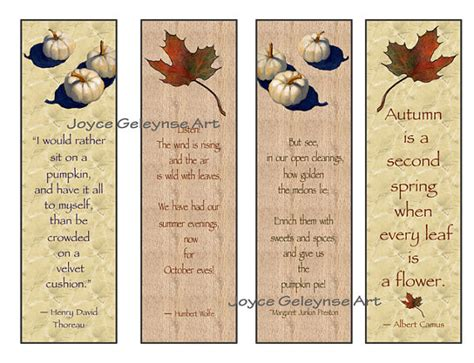 printable pumpkin bookmarks items similar to printable bookmarks maple leaf