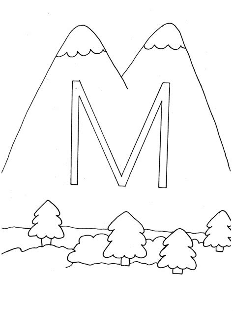 Alphabet M Coloring Pages by Letter Coloring Pages Coloring Town