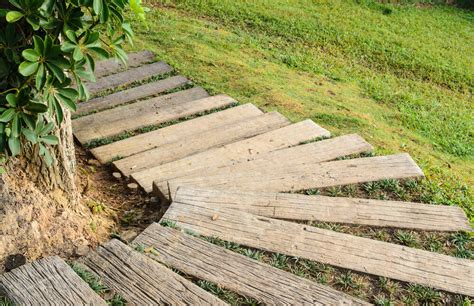 wooden outdoor stairs and landscaping steps on slope 60 outdoor garden landscaping step ideas