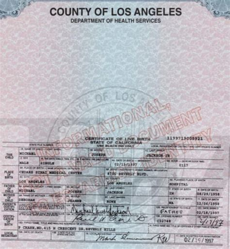 King County Birth Records Michael Jackson Jr Birth Certificate The Gossip