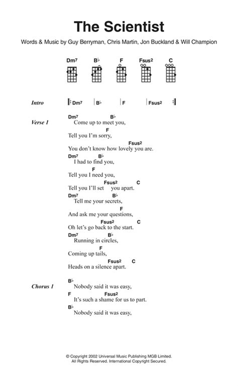 The Scientist sheet music by Coldplay (Ukulele Lyrics