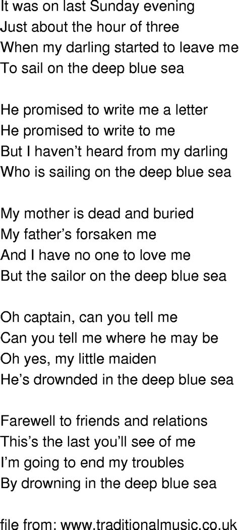 song to time song lyrics sailor on the blue sea