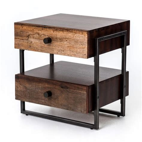 industrial end table milo industrial 2 drawer end table zin home