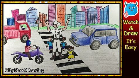 draw city road safety drawing  kids  pencil