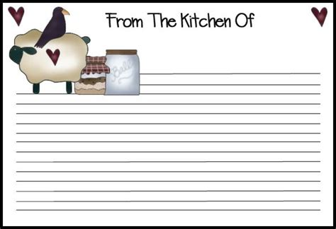 recipe cards  print      country