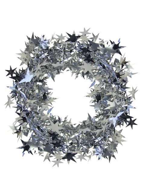 silver star wired garland 7 6m christmas decorations