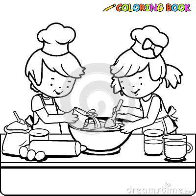 cours cuisine v馮騁arienne enfants faisant cuire la page de livre de coloriage