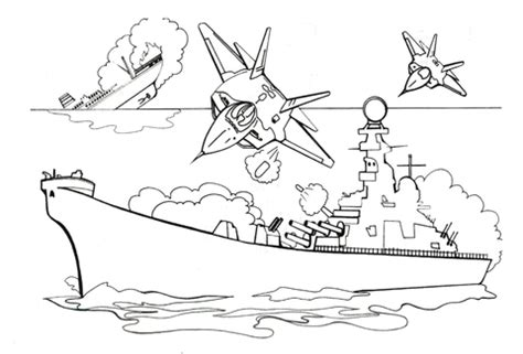 Attacking Battleship With Bombs Coloring Page Battleship Coloring Page