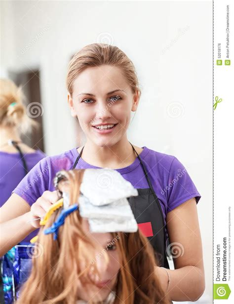 Hairstyle Photos Only Printer by Hairdresser Dye The Hair Stock Photo Image 52018176