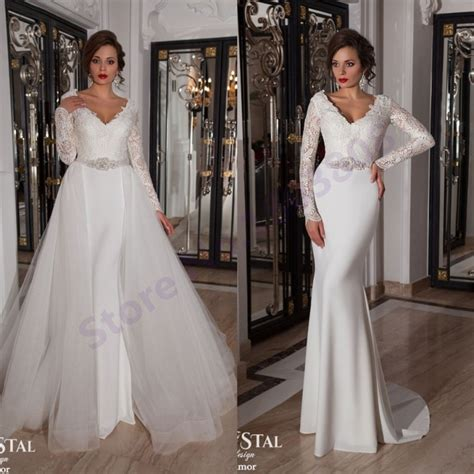 Vintage Lace Long Sleeves White Chiffon Mermaid Wedding