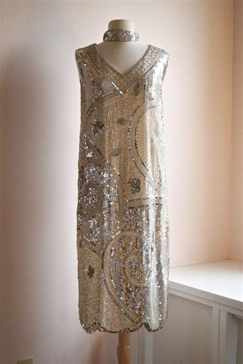 beaded gatsby style dress vintage beaded flapper dress 20s style gatsby dress