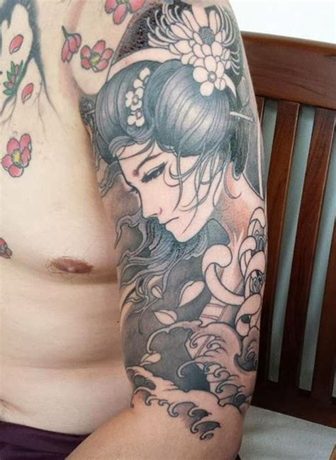 geisha beautiful tattoo tatuaje geisha flores japonesas