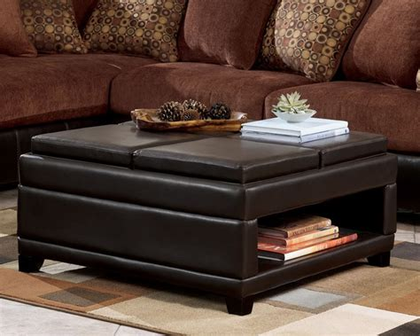 leather storage ottoman coffee table square coffee table with storage ottoman
