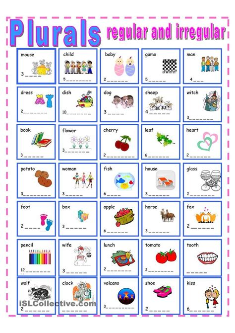 printable games for plurals fill in regular and irregular plurals on the dotted lines