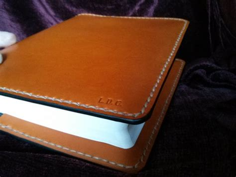 Handmade Leather Bible Covers - handmade leather bible cover in saddle made in the usa