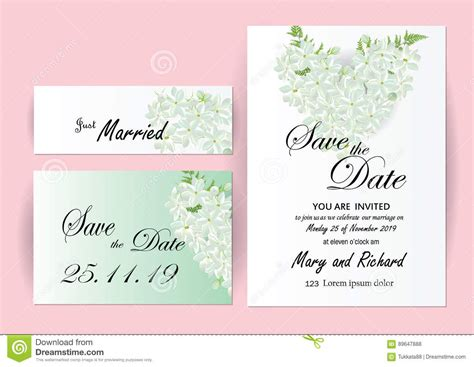 wedding invitation card suite with flower templates wedding invitation card flowers stock vector