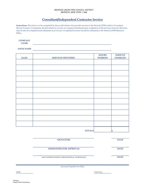 free printable hourly invoice wages invoice template free download hardhost info