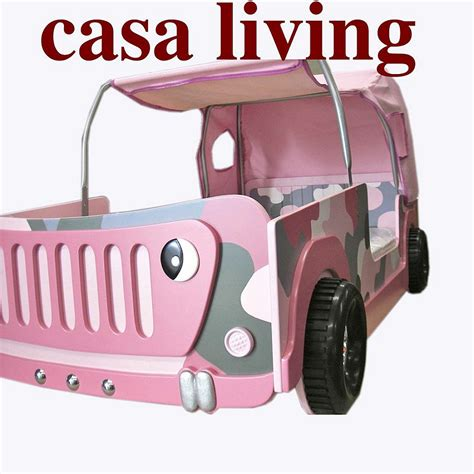 pink jeep bed new kids girls child single pink camo jeep car bed