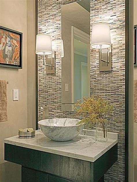 Contemporary powder room decorating ideas also white marble countertop and washbowl also mosaic