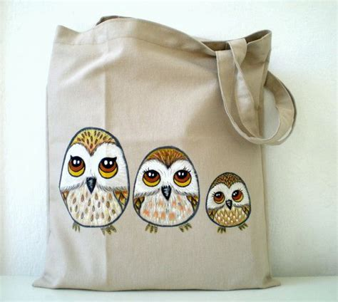 Totebag Owl Family By Bellezzeshop best 25 painted canvas bags ideas on tote bag