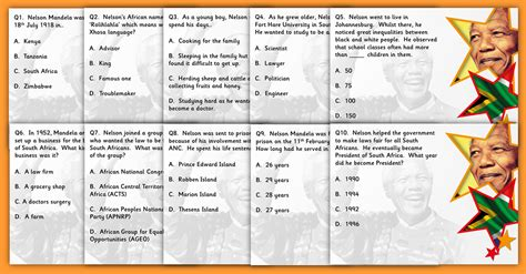 questions on biography of nelson mandela nelson mandela ks2 black history quiz classroom secrets