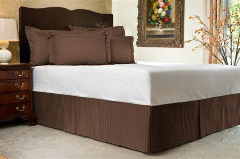 brown bed skirt 300 tc sateen stripe tailored bed skirt 21 quot drop ebay