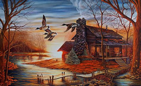 Log Cabin Paintings by Winter Getaway Painting By Valle