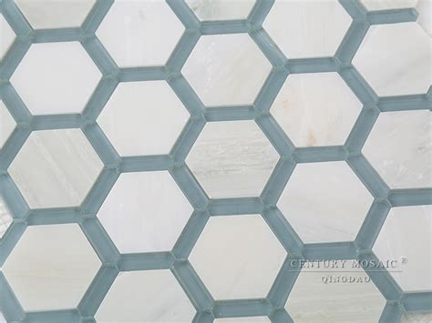 blue and white marble mix glass hexagon floor mosaic