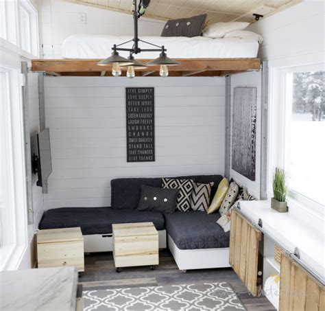 Ana White S Open Concept Tiny House Features Lounge That Tiny House Bunk Beds