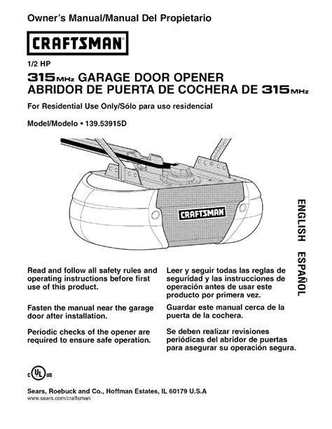 Craftsman Garage Door Opener Model 41a3066 Manual Wageuzi Craftsman 1 2 Garage Door Opener Manual