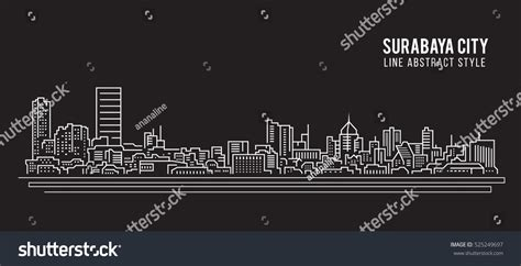 design graphic surabaya cityscape building line art vector illustration stock