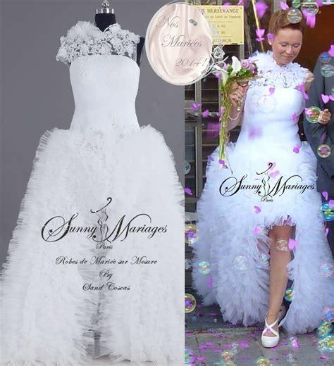 Robe Tulle Mariage - robe mariee asymetrique tulle et dentelle sur mesure pas