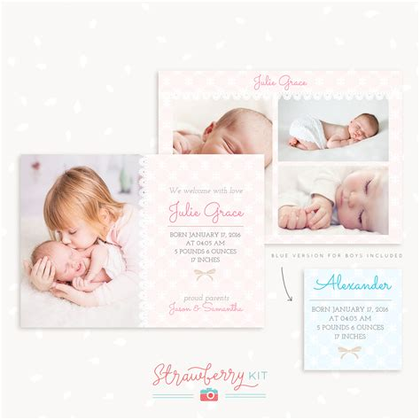 photoshop templates for birth announcements birth announcement template quot lace quot strawberry kit