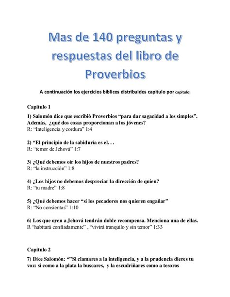 mas de 140 preguntas y respuestas del libro de proverbios - Preguntas Biblicas Adventistas Pdf