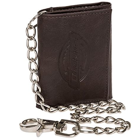 dickies mens brown leather logo trifold wallet w chain