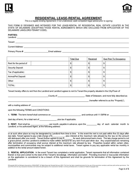 Florida Residential Rental Agreement Rental Agreement Template Florida Free