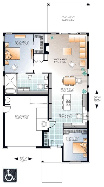 accessible barrier free house plan 22382dr