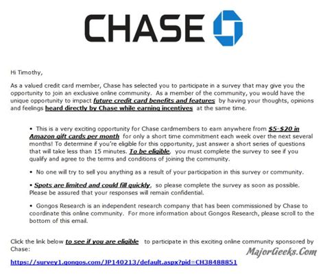 Chase Bank Gift Cards - chase bank phishing scheme promises amazon gift cards for completing a survey majorgeeks