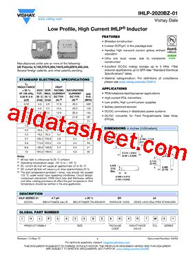 vishay inductors datasheet ihlp2020bzer1r0m01 datasheet pdf vishay siliconix