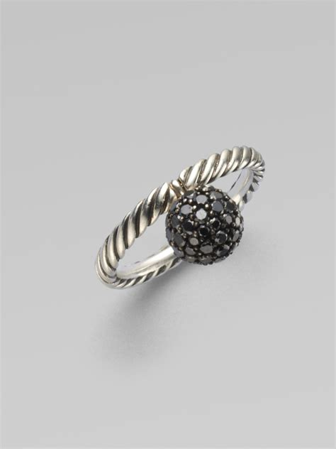 david yurman black bead sterling silver ring in