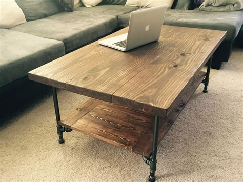 Pipe Coffee Table by Large Industrial Rustic Wood Pipe Coffee Table