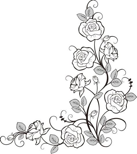 rose border coloring page flower doodle line art pinterest beautiful doors