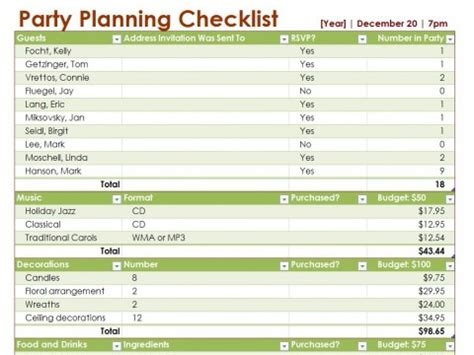 party planning template to do list for party planning to do