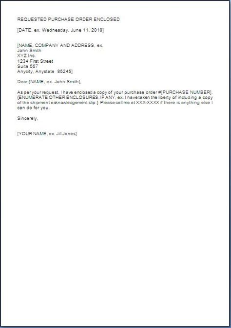 purchase order covering letter