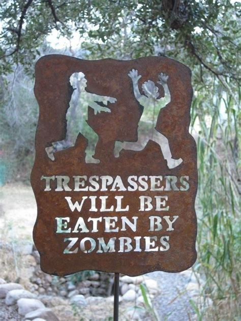 front yard signs trespassers will be eaten by zombies metal garden yard sign