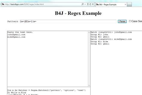Pattern Regex Android | b4j tutorial server regex tool basic4android community